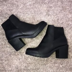 Chunky Black Heel Boots